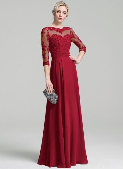 A-Linie U-Ausschnitt Bodenlang Chiffon Kleid für die Brautmutter mit Rüschen Applikationen Spitze Pailletten