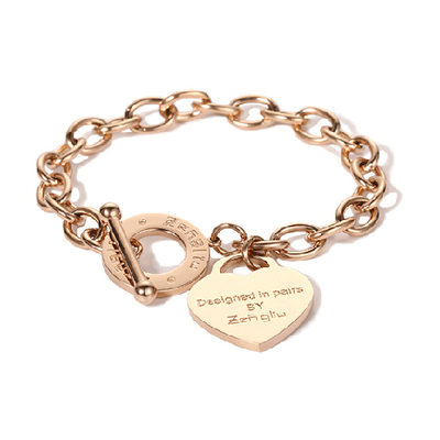 Custom Delicate Chain Charm Bracelets Engraved Bracelets With Heart - Valentines Gifts For Her