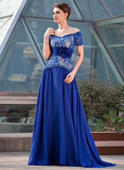 A-Line/Princess Off-the-Shoulder Sweep Train Chiffon Lace Mother of the Bride Dress With Ruffle Beading Flower(s) Sequins