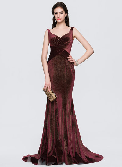 Trumpet/Mermaid V-neck Sweep Train Velvet Evening Dress With Ruffle