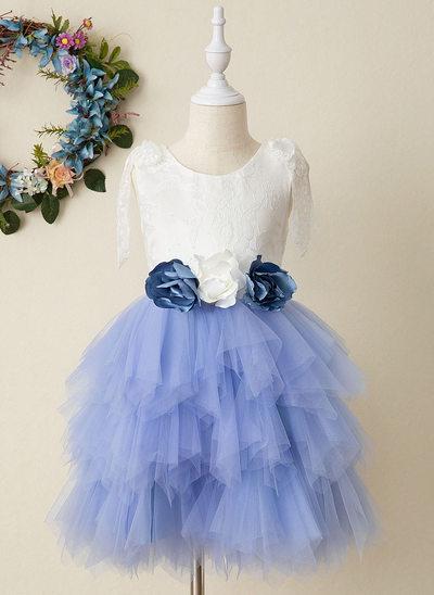 Corte A Coquetel Vestidos de Menina das Flores - Tule/Renda Sem magas Decote redondo com fecho de correr