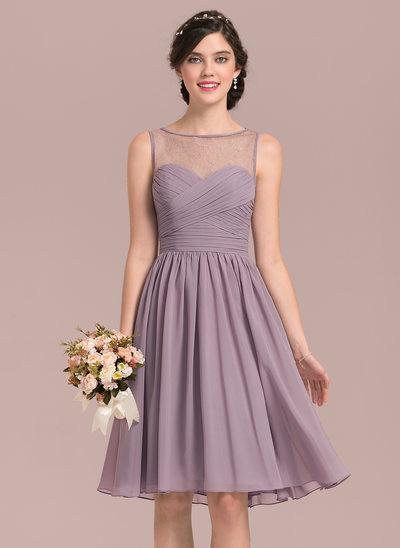 A-Linie/Princess-Linie U-Ausschnitt Knielang Chiffon Lace Brautjungfernkleid mit Rüschen