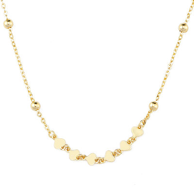 18k Gold Plated Silver Heart Multiple Charm Necklace