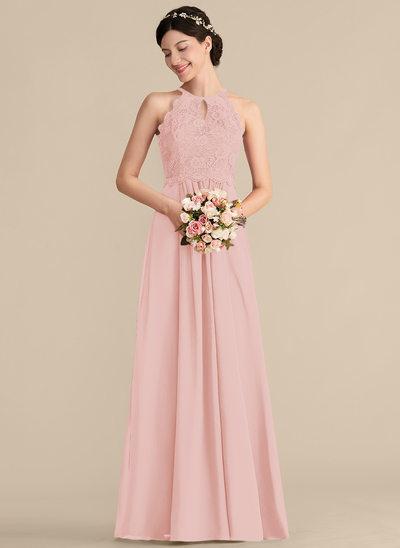 Çan/Prenses Yuvarlak Yaka Uzun Etekli Şifon Dantel Mezuniyet Elbisesi