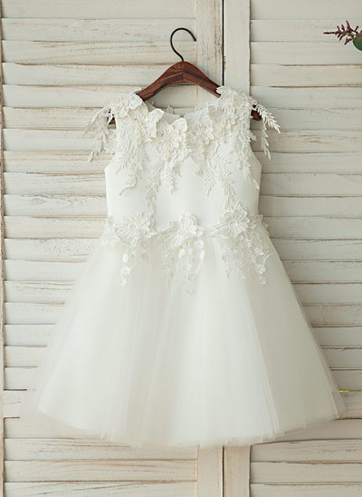 A-Line/Princess Knee-length Flower Girl Dress - Tulle/Lace Sleeveless With Appliques