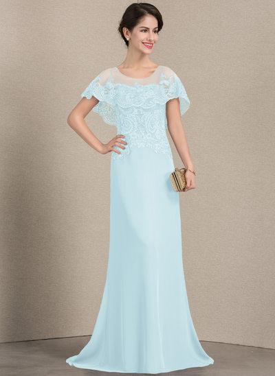 Vestidos princesa/ Formato A Decote redondo Sweep/Brush trem Tecido de seda Renda Vestido para a mãe da noiva