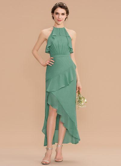 Трапеция Круглый асимметричный шифон Платье Подружки Невесты с Ниспадающие оборки