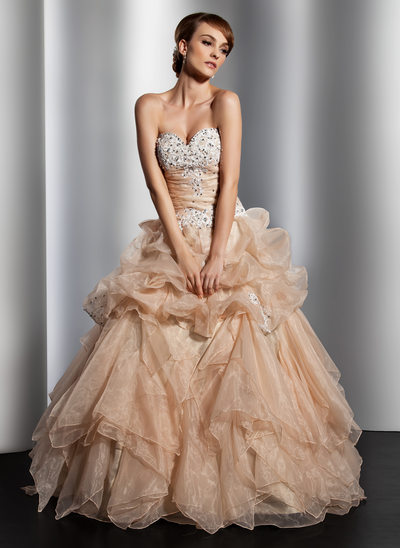 Ball-Gown Sweetheart Floor-Length Organza Wedding Dress With Ruffle Lace Beading Sequins
