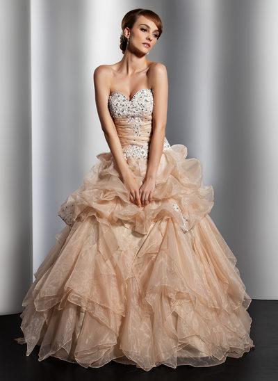 Duchesse-Linie Herzausschnitt Bodenlang Organza Brautkleid mit Rüschen Spitze Perlen verziert Pailletten