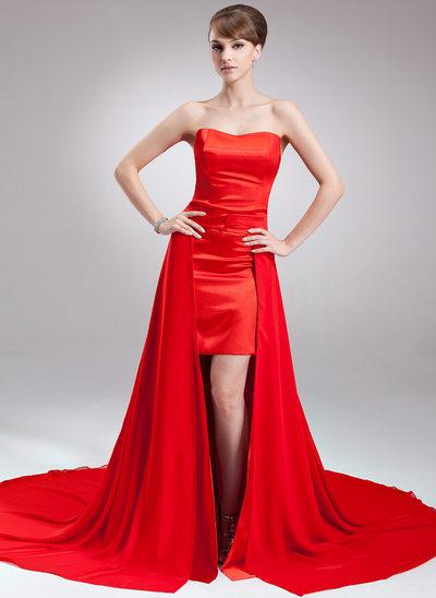 A-linjeformat Hjärtformad Asymmtrisk Löstagbar Chiffong Satäng Festklänning
