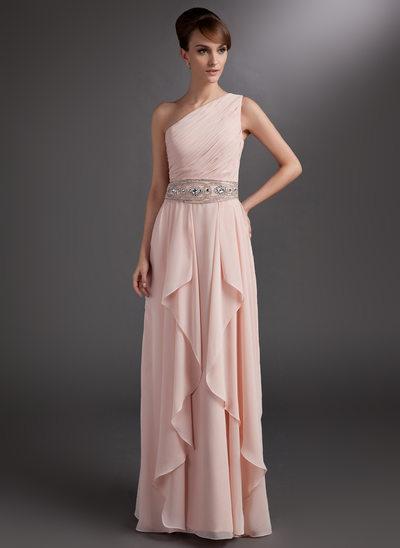 Çan/Prenses Tek-Omuzlu Uzun Etekli Chiffon Gelin Annesi Elbisesi
