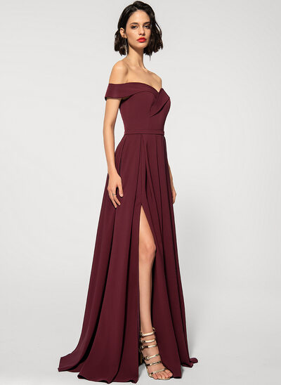 A-Line Off-the-Shoulder Sweep Train Stretch Crepe Evening Dress With Pockets