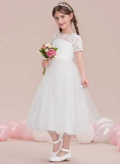 Трапеция/Принцесса Круглый Длина ниже колен Тюль Платье Юнных Подружек Невесты