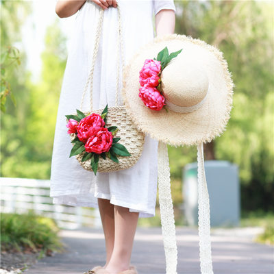 Bride Gifts - Eye-catching Silk Straw Tote Bag Straw Hat
