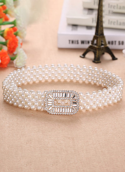 Elegant PU Sash With Imitation Pearls