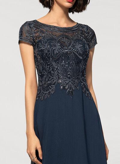 Çan/ Yuvarlak Yaka Uzun Etekli Şifon Dantel Gece Elbisesi
