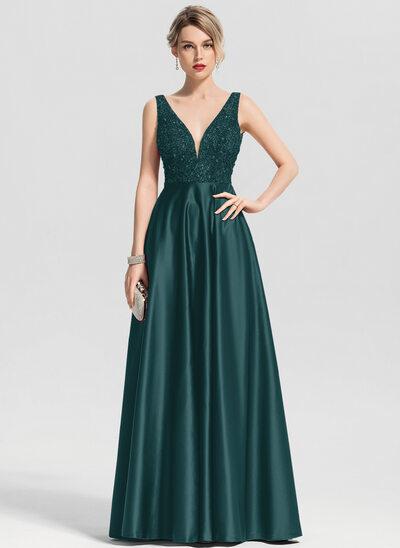 Corte A Decote V Longos Cetim Vestido de baile com Beading lantejoulas