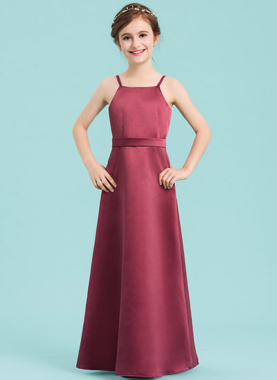 A-Linie/Princess-Linie Rechteckiger Ausschnitt Bodenlang Satin Kleid für junge Brautjungfern mit Schleife(n)
