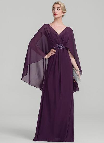 Forme Princesse Col V Longueur ras du sol Mousseline Robe de mère de la mariée avec Plissé Brodé