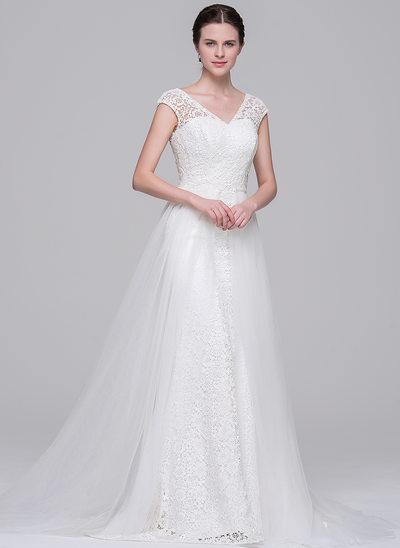 Corte A/Princesa Escote en V Cola corte Desmontable Tul Encaje Vestido de novia
