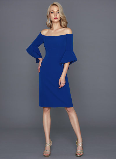 Linjeform Off-the-Shoulder Knelengde Satin Ballkjole
