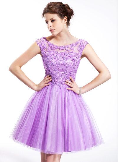 Princesový Kruhový výstřih Po kolena Tulle Charmeuse Šaty na třídní srazy S Zdobení korálky Flitry