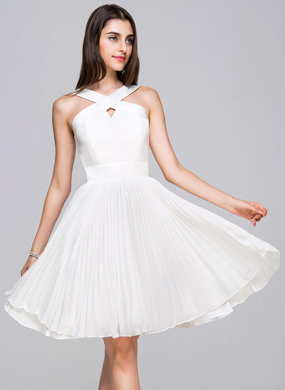 A-Line/Princess V-neck Knee-Length Chiffon Satin Cocktail Dress With Pleated