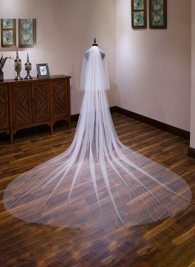 Duas camada Corte da borda Catedral véus de noivas com Renda