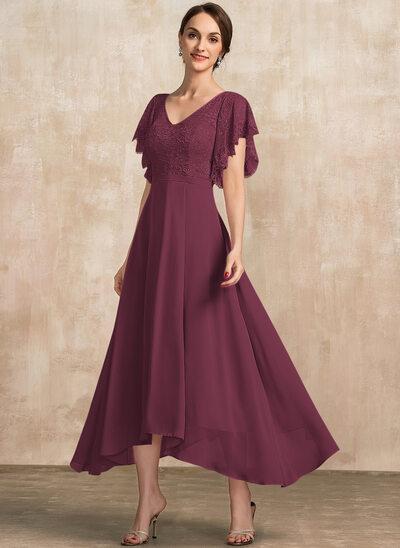 Corte A Escote en V Hasta el tobillo Gasa Encaje Vestido de madrina