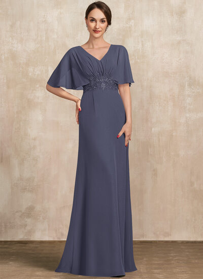 A-Line V-neck Floor-Length Chiffon Mother of the Bride Dress With Lace Sequins