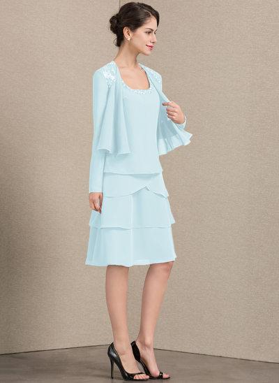 Corte A Decote quadrado Coquetel Tecido de seda Vestido para a mãe da noiva com Beading lantejoulas