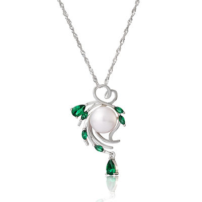 Sterling Silver Flower Pearl Necklace