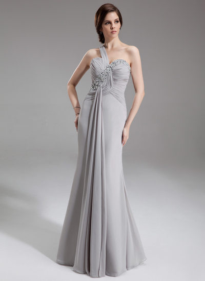 Trumpet/Mermaid One-Shoulder Floor-Length Chiffon Mother of the Bride Dress With Ruffle Beading Sequins