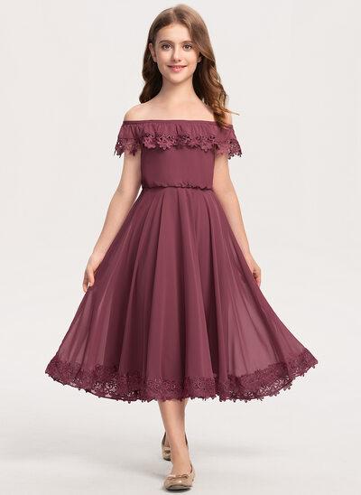 Çan Off-Omuz Uzun Etekli Şifon Dantel Küçük Nedime Elbisesi