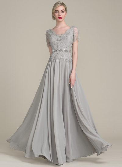 A-Linie/Princess-Linie V-Ausschnitt Bodenlang Chiffon Spitze Kleid für die Brautmutter mit Perlstickerei Pailletten