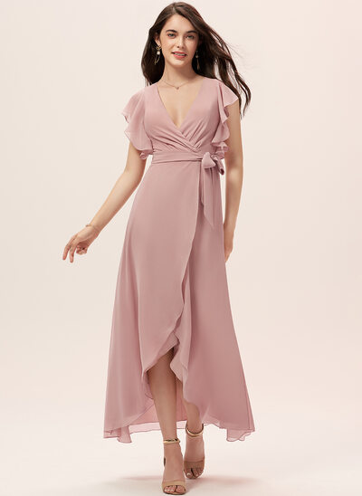 A-Line V-neck Asymmetrical Chiffon Bridesmaid Dress With Ruffle Sash
