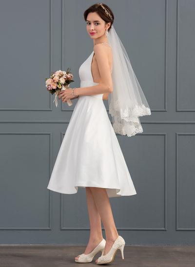 Princesový V-Výstřihem Po kolena Satén Svatební šaty