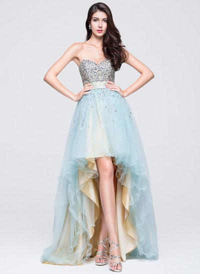 Vestidos princesa/ Formato A Amada Assimétrico Tule Vestido de boas vindas com Pregueado Beading lantejoulas