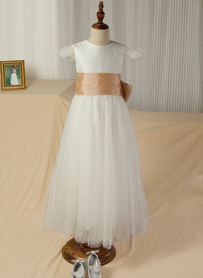 A-Line/Princess Floor-length Flower Girl Dress - Taffeta/Satin/Tulle Short Sleeves Scoop Neck With Sash/Bow(s) (Undetachable sash)