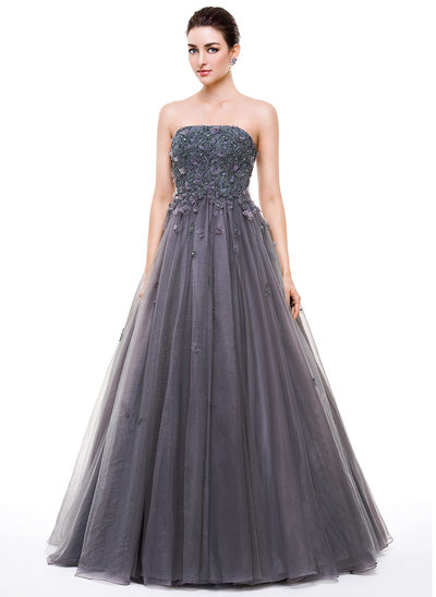 Ball-Gown Strapless Floor-Length Tulle Prom Dresses With Beading Appliques Lace Flower(s) Sequins