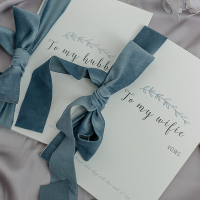 Bride Gifts - Delicate Silk Card Paper Vow Card (Set of 2)