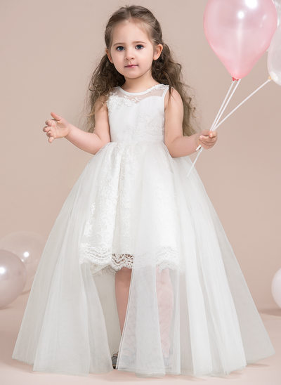 A-Line/Princess Asymmetrical Flower Girl Dress - Tulle/Lace Sleeveless Scoop Neck With Lace/Appliques