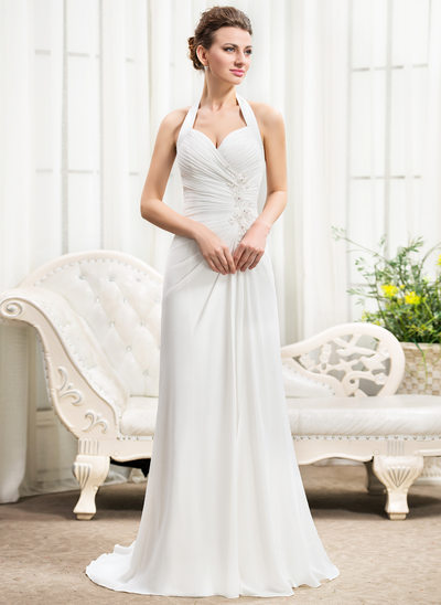 A-Line/Princess Halter Sweep Train Chiffon Wedding Dress With Ruffle Beading Appliques Lace Sequins Bow(s) Split Front
