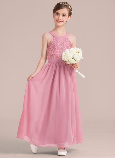 A-Line/Princess Ankle-length Flower Girl Dress - Chiffon/Lace Sleeveless Scoop Neck