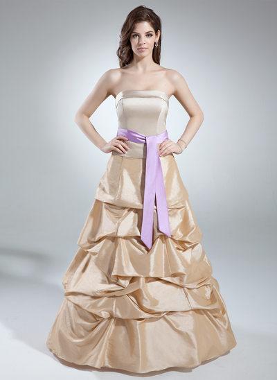 A-Line/Princess Strapless Floor-Length Taffeta Prom Dress With Ruffle Sash