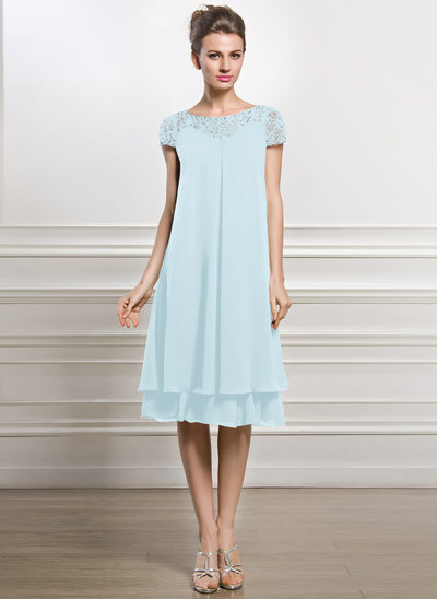 Empire Scoop Neck Knee-Length Chiffon Mother of the Bride Dress With Beading Sequins