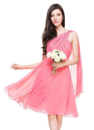 Forme Princesse Seule-épaule Longueur genou Mousseline de soie Robe de demoiselle d'honneur avec Plissé