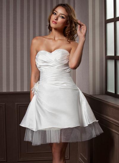 A-Line/Princess Sweetheart Knee-Length Taffeta Tulle Wedding Dress With Ruffle Flower(s)