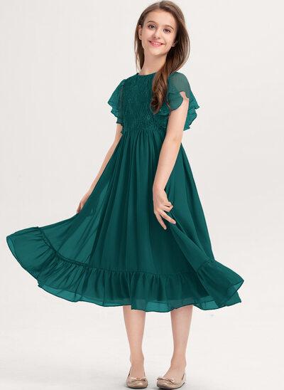 Corte A Decote redondo Coquetel Tecido de seda Renda Vestido de daminha júnior com Babados em cascata