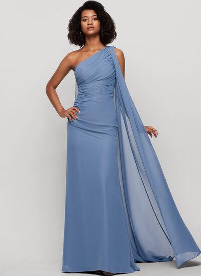Kılıf Bir omuz Uzun Etekli Şifon Gece Elbisesi Ile Büzgü
